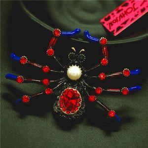 Halloween Red Widow Spider Brooch